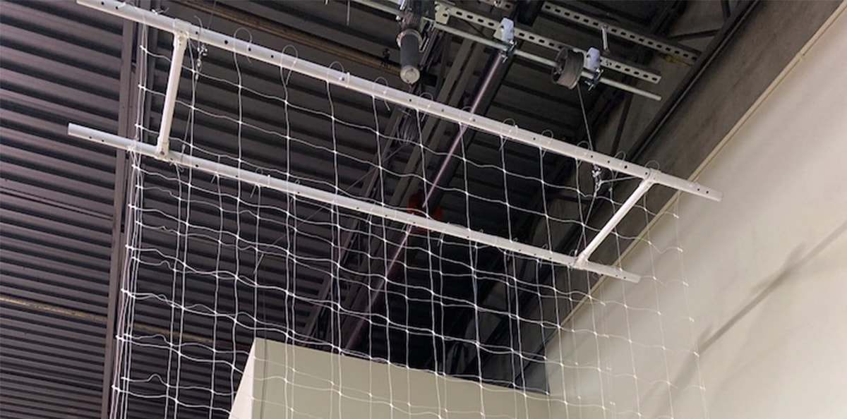 3-in-1 overhead cannabis nets at lift and grow headquarters