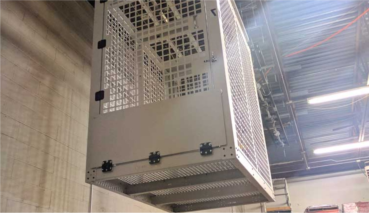 security cage hanging from ceiling