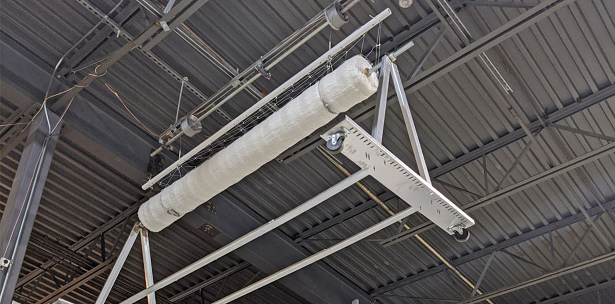 overhead drying rack hanging from ceiling