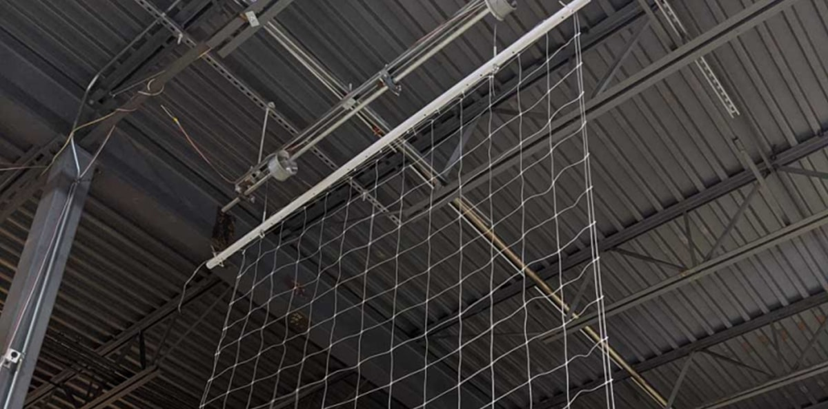 close-up of drying net hanging from ceiling